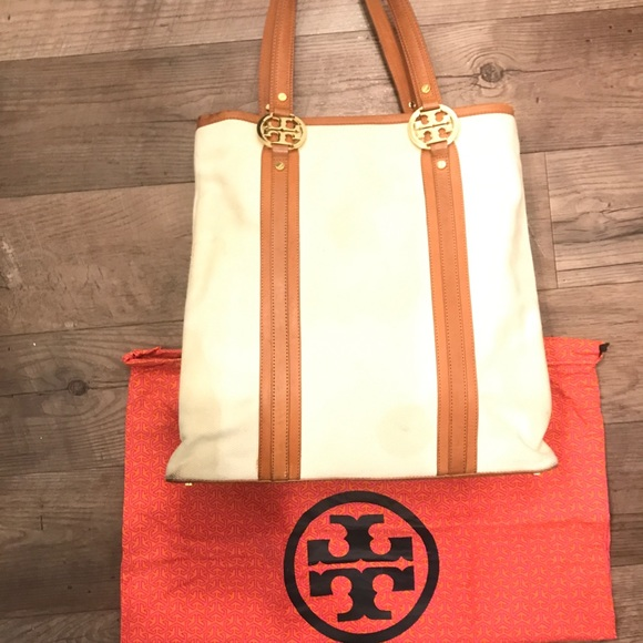 Tory Burch Handbags - Tory Burch Canvas & Leather Tote/Crossbody Bag